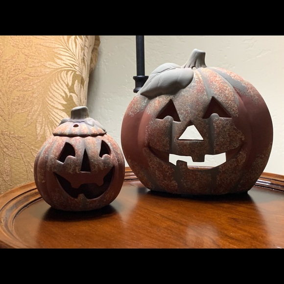 Other - Two carved clay pumpkins